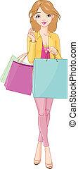 menina, sacolas, shopping