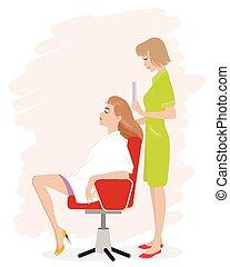 menina, salão, hairdressing