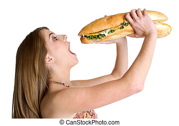 menina, sanduíche, comer