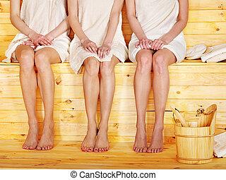 menina, sauna.