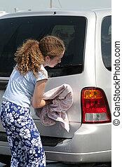 menina, secar, car