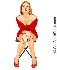 menina, seduzir, camisa, vermelho
