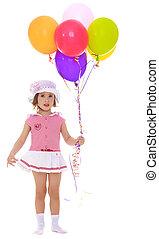 menina, segurando, balões