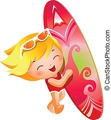 menina, segurando, surfe junta