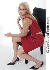 menina, sentando, cadeira