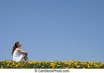menina, sentando, em, dandelion, campo