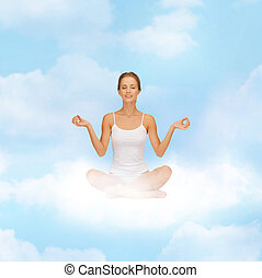 menina, sentar posição lotus, e, meditar