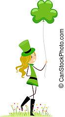 menina, shamrock-shaped, balloon, segurando