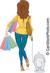 menina, shoping, vista, costas, cão