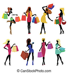 menina, shopping, silhuetas