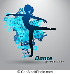 menina, silueta, dançar
