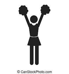menina, silueta, isolado, cheerleader