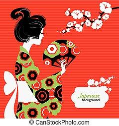menina, silueta, japoneses
