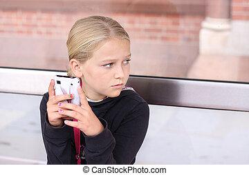 menina, smartphone