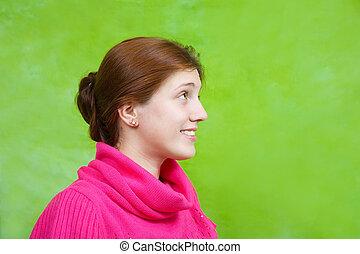 menina, sobre, experiência verde