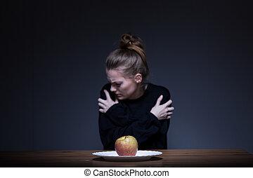 menina, sofrimento, nervosa, anorexia