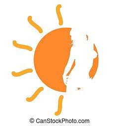 menina, sol, vetorial, ilustração