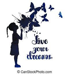 menina, soprando, pequeno, saída, borboletas