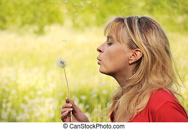 menina, sopros, ligado, dandelion, e, pensa, desejo, 4