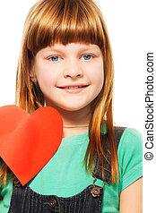 menina sorridente, com, coração