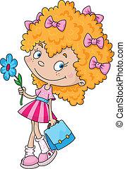 menina sorridente, e, flor