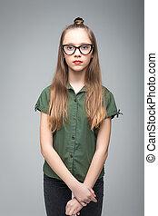 menina, spectacled, jovem