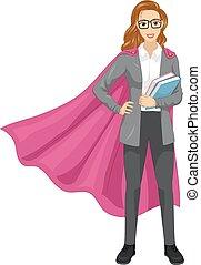 menina, super, professor, livros, ilustração