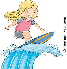menina, surfista