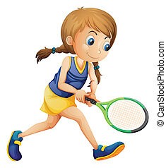 menina, tênis, jovem, tocando