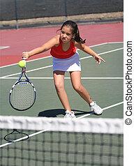menina, tênis, tocando