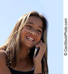 menina, telefone