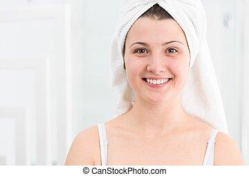 menina, toalha, cabeça