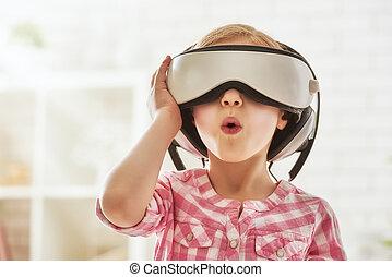 menina, tocando, em, realidade virtual, óculos