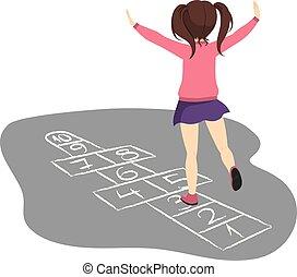 menina, tocando, hopscotch