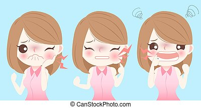 menina, toothache, ter, caricatura