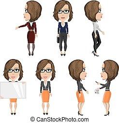 menina, trabalho, óculos