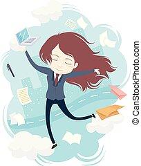 menina, trabalho, zen, ilustração