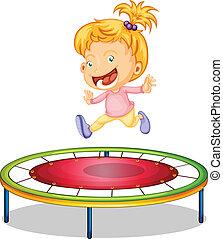 menina, trampoline, tocando