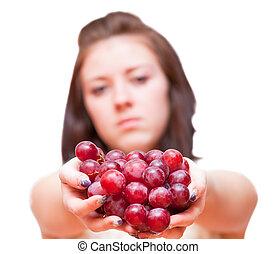 menina, uvas, grupo