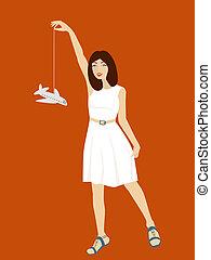 menina, vestido, branca