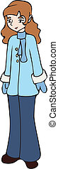 menina, vestido, em, um, casaco inverno