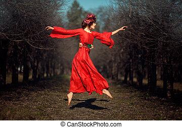 menina, vestido, vermelho, soars.