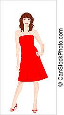 menina, vestido, vermelho
