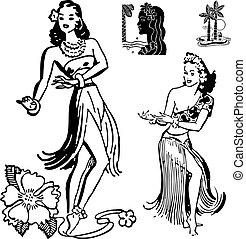 menina, vetorial, hula, retro, gráficos