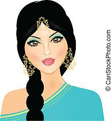 menina, vetorial, ilustração, oriental