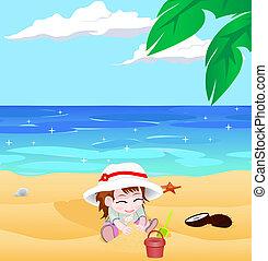 menina, vetorial, praia