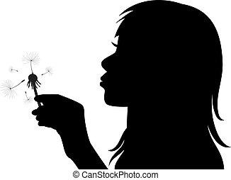 menina, vetorial, soprando, dandelion