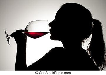 menina, vinho, silueta, vermelho, sipping