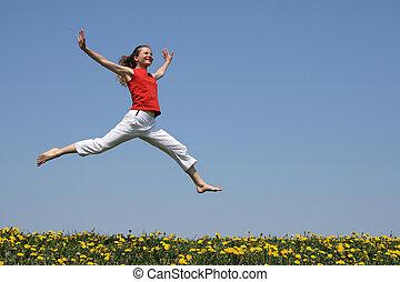 menina, voando, em, um, salto, sobre, florescendo, campo