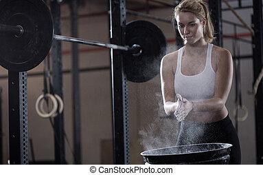 menina, weightlifting, preparar